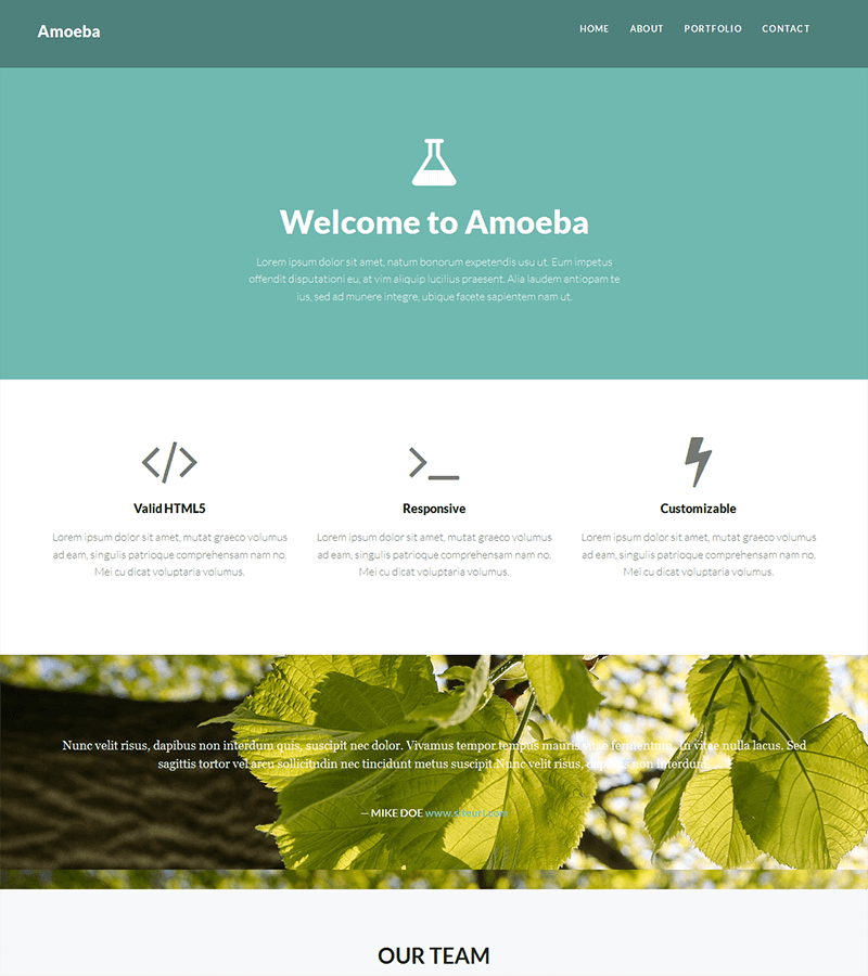 Free one page bootstrap Amoeba Sketch UI Kit
