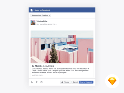 Facebook Web Share UI Kit for Sketch