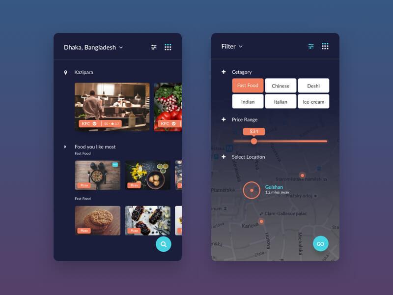 Finding Food App Screen UI Kit for Sketch