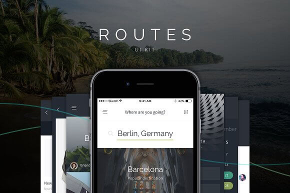 Routes iOS UI Kit for Sketch - UX/UI Land