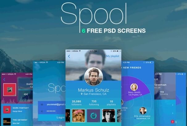 Spool Mobile Photoshop UI Kit