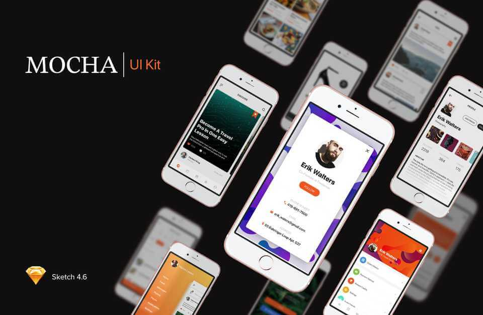 Mocha Mobile Sketch UI Kit