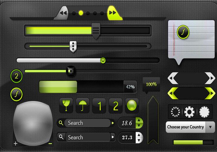Web Dark UI Kit for Photoshop
