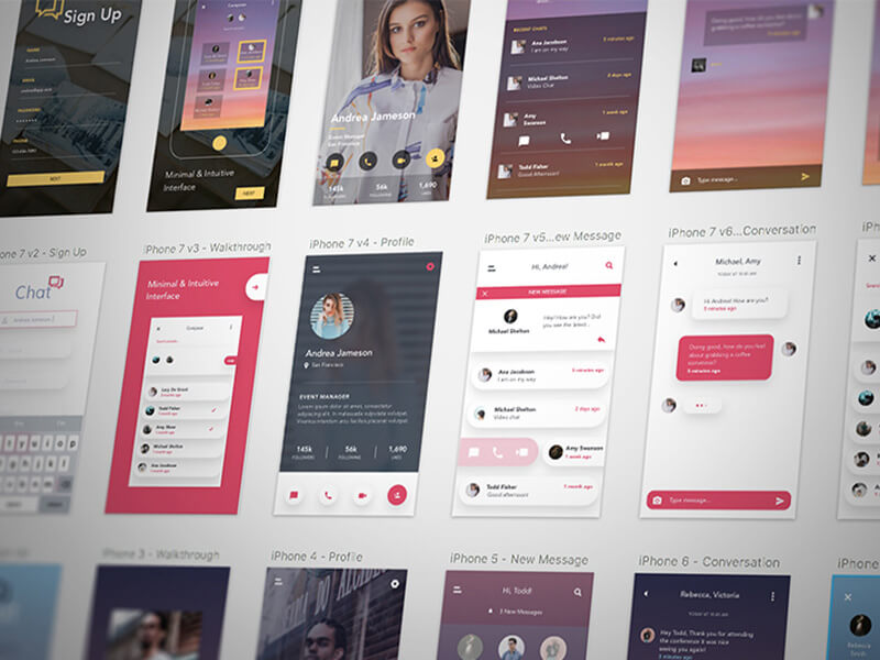 Free Chat Mobile App UI Kit for Sketch