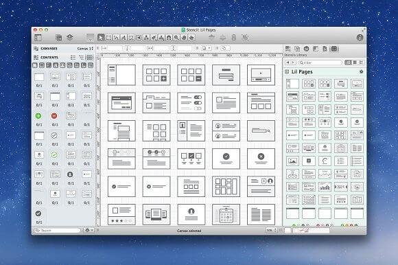Lil Pages 50 UI layouts OmniGraffle Stencil