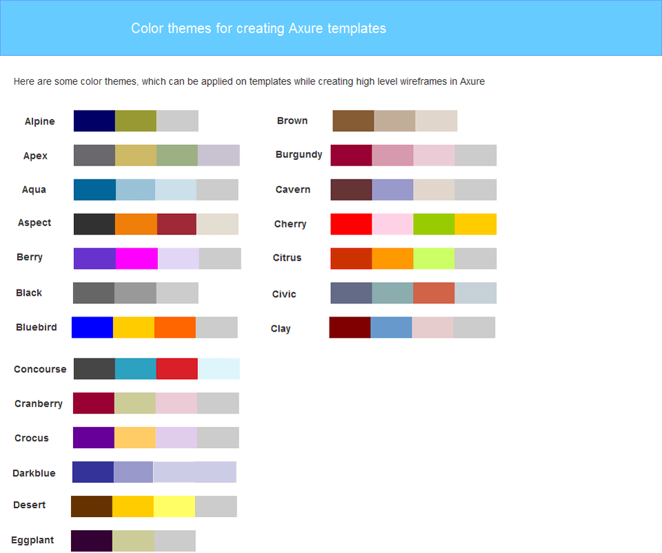 Axure Color Themes Widget Library