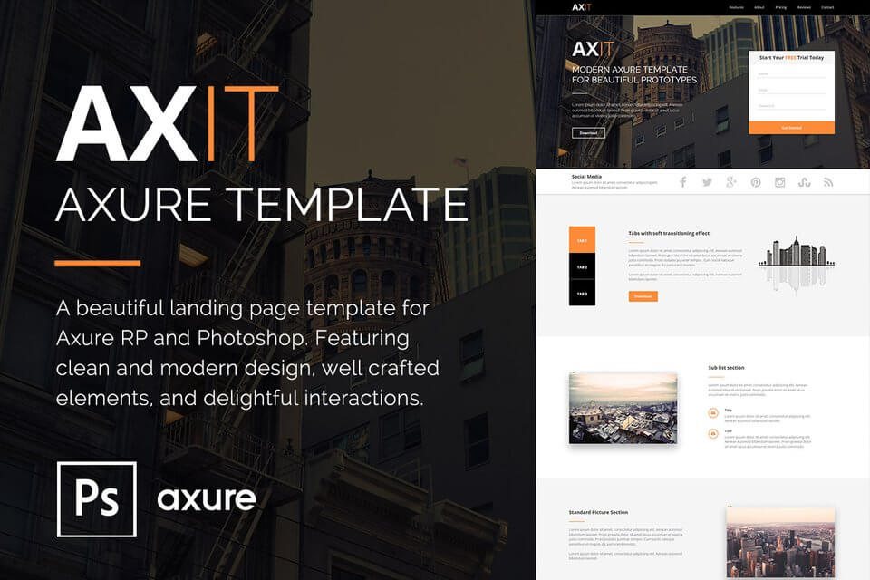 Axit - Axure Landing Page Template