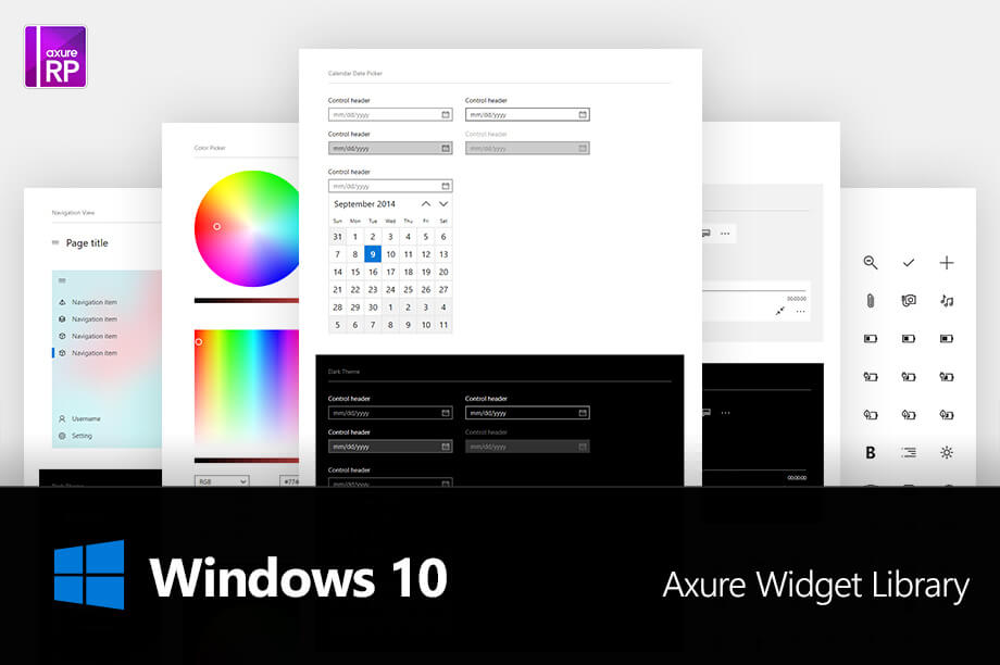 Axure Windows 10 Fluent Design System Widget Library