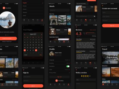 Travelisto UI Kit - Dark Release for Sketch