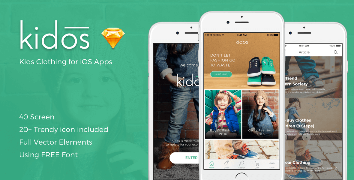 Kidos - Kids Clothing iOS UI Kit for Sketch