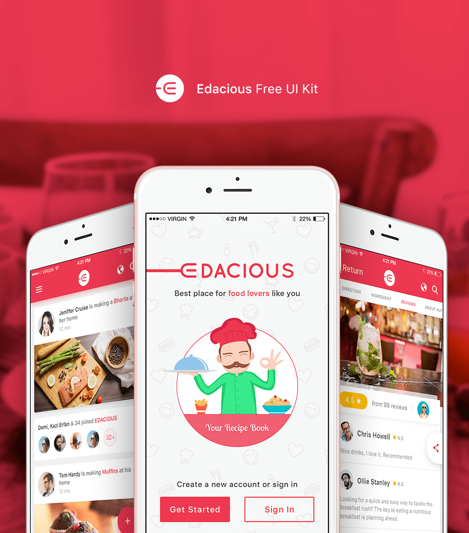 Edacious Food App Photoshop UI Kit
