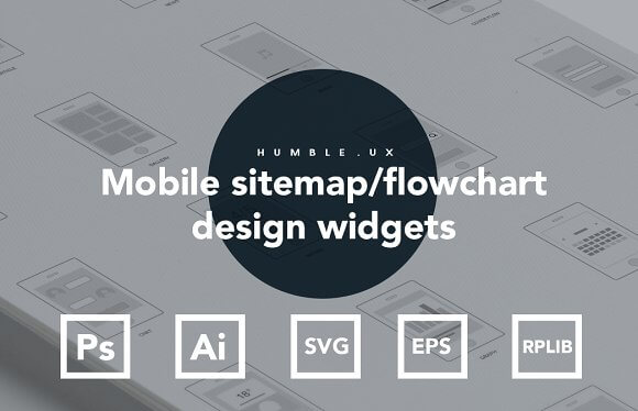 Mobile sitemap flowchart widget library