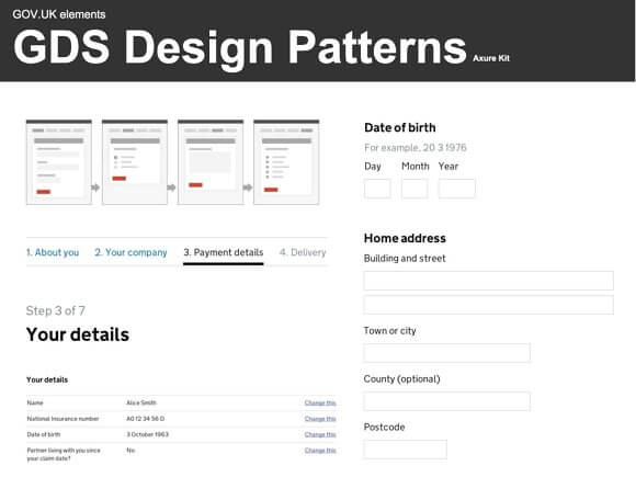 GDS Design Pattern Library Axure Kit