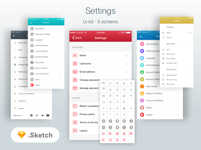Settings Screens & icons Ui Kit for Sketch