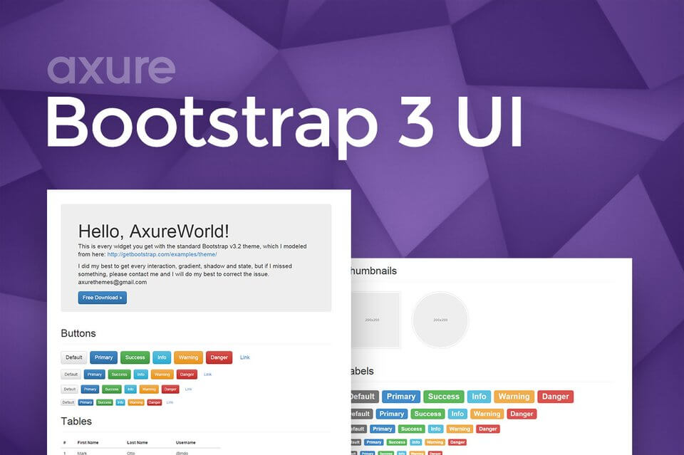 Axure Bootstrap 3 UI Widget Library
