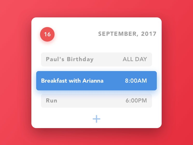 Calendar Widget UI Kit for Sketch