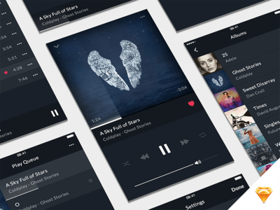 Music Player UI Kit for Sketch