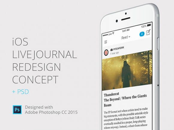 Livejournal iOS concept Photoshop UI Kit