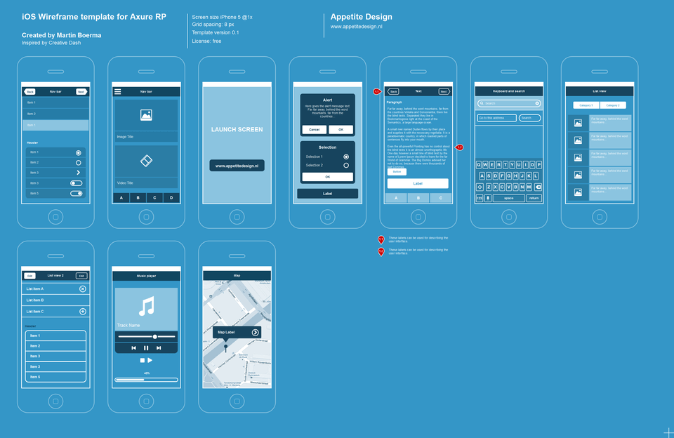 Axure iOS Flat Wireframe Template - UX/UI Land