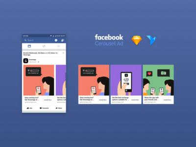 Facebook Carousel Ad Mockup UI Kit for Sketch