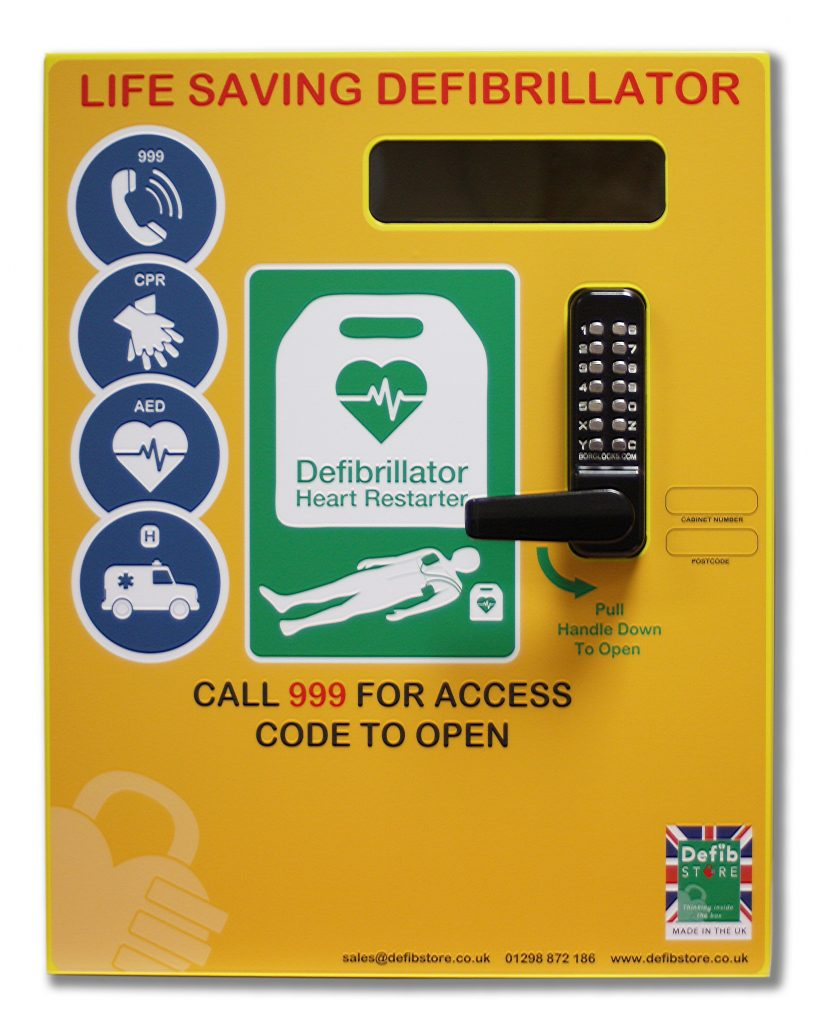 Defib Store 3000 Stainless Steel Cabinet with Keypad Lock, Heater and LED Light