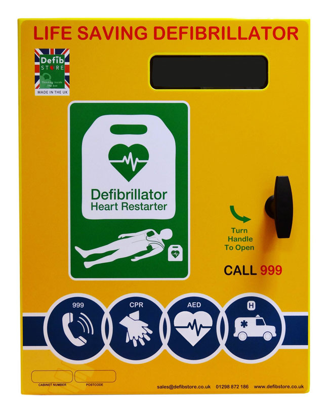 Defib Store 3000 Stainless Steel Cabinet Unlocked with Heater and LED Light