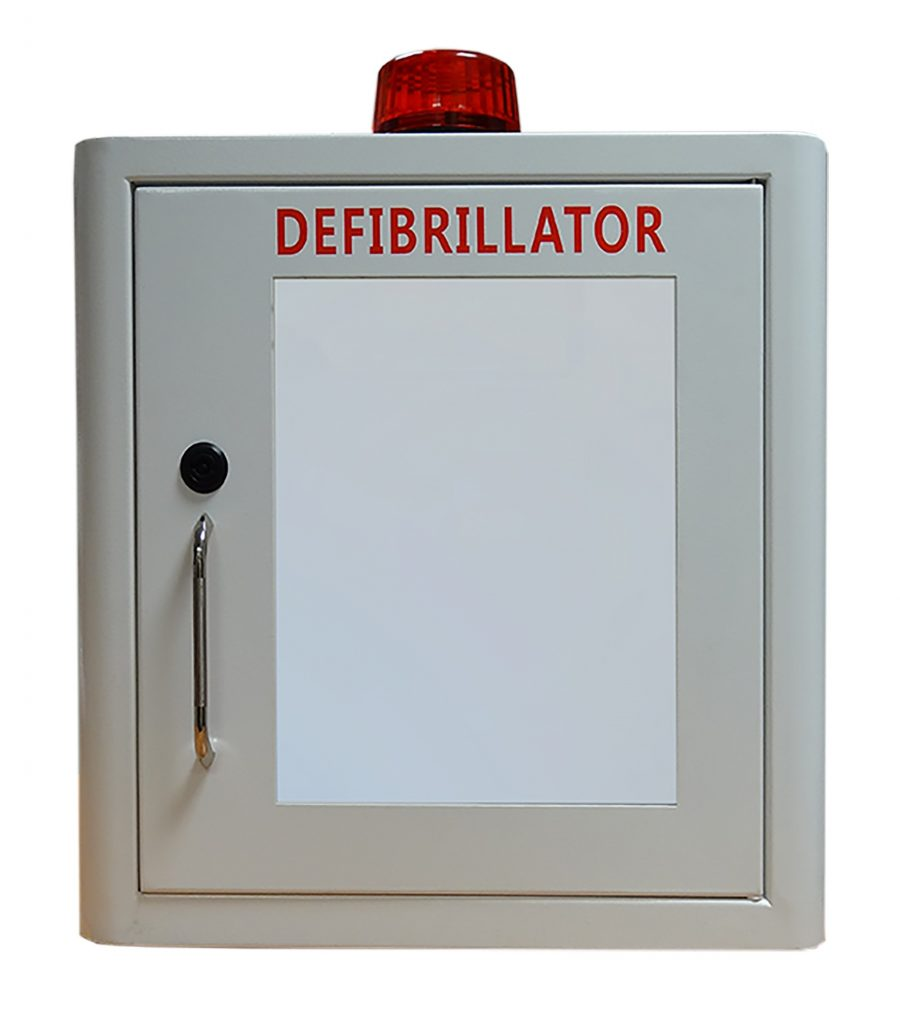 Indoor White Defib Store with Strobe Light & Alarm – Locked