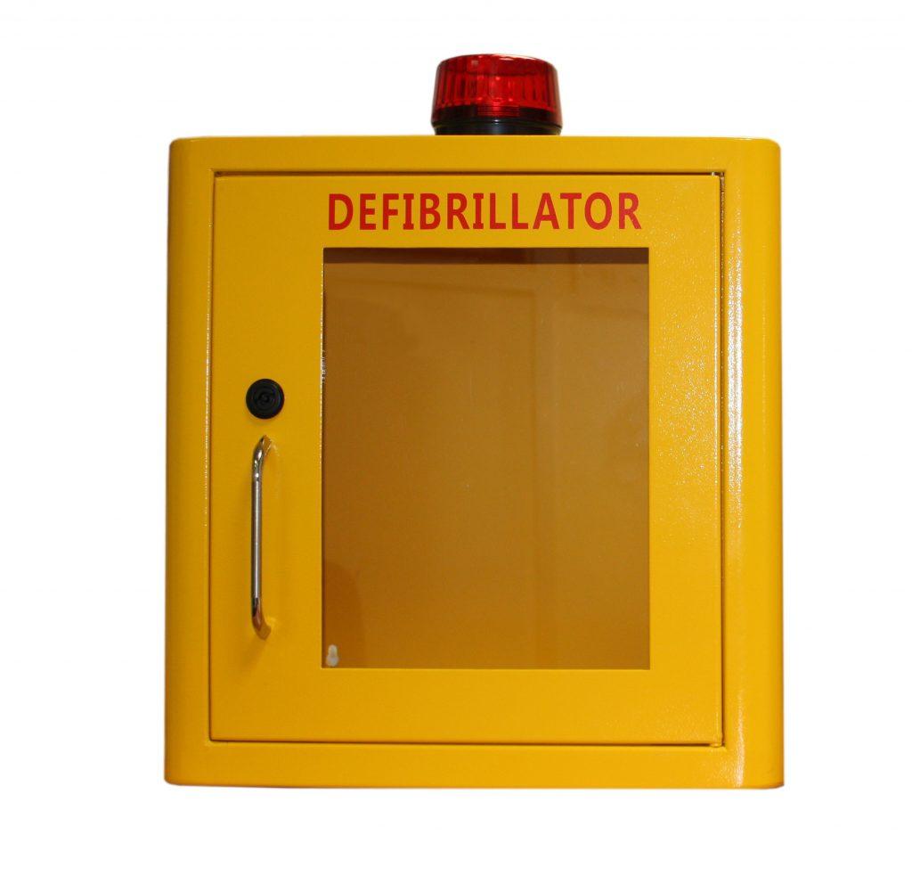 Indoor Yellow Defib Store with Strobe Light & Alarm – Unlocked