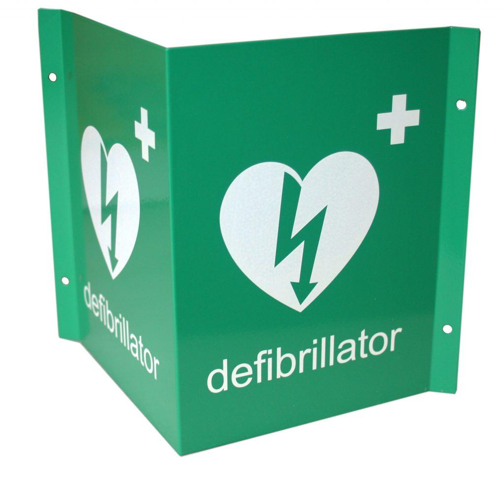 3D Defibrillator Green Wall Sign