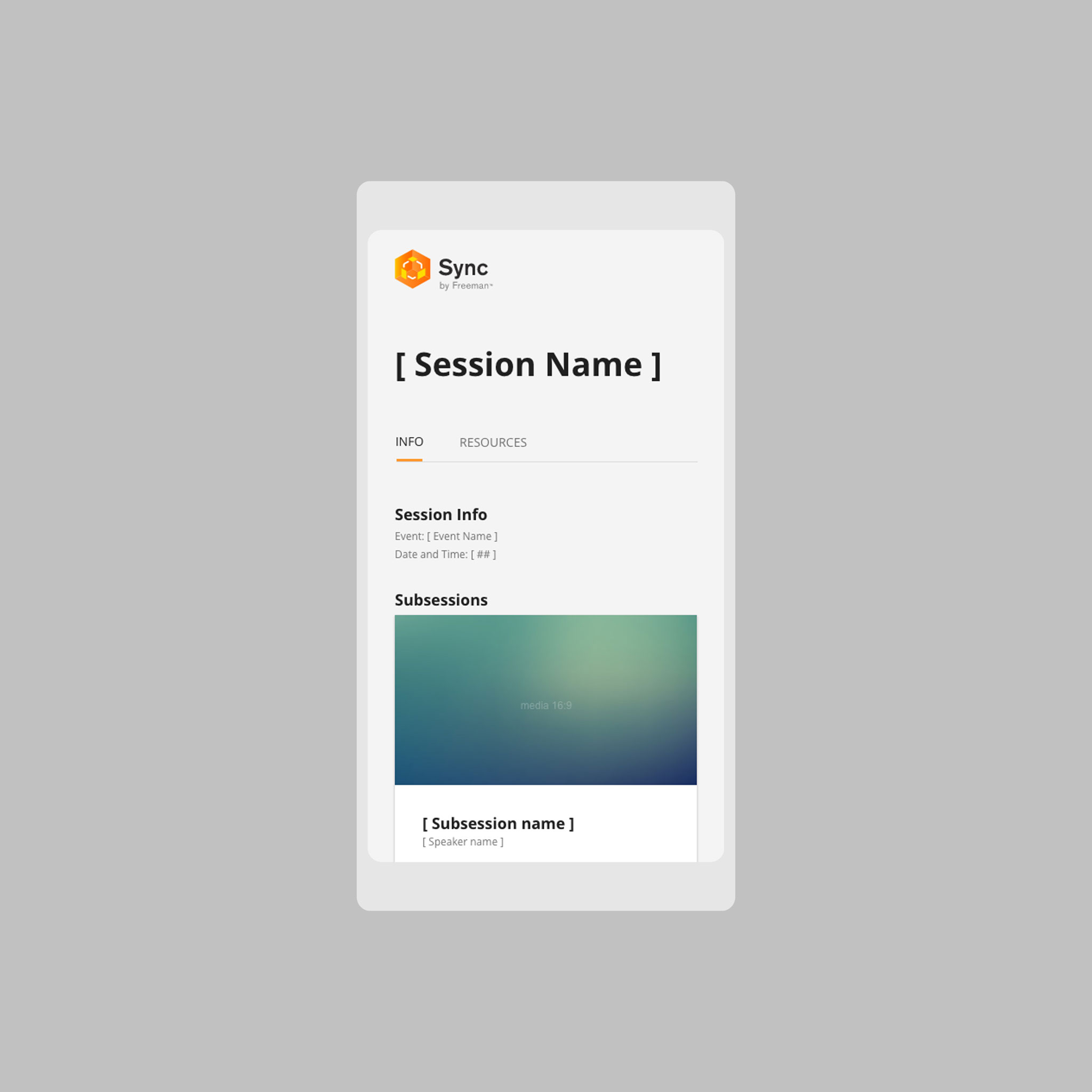 A mock-up of the Sync Session Info page.