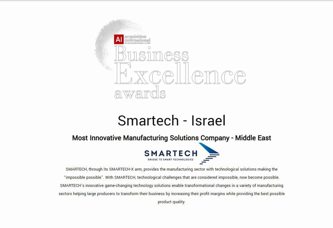 Smartech: Most Innovative Manufacturing Solutions Company - Middle East