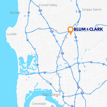 Map of San Diego with Blum & Clark location