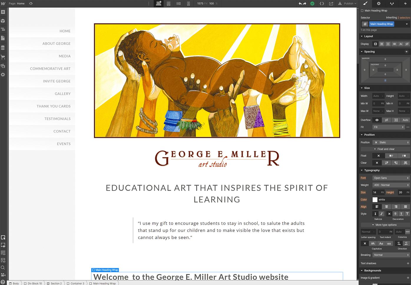 aroundKent website design services. George E. Miller Art Studio