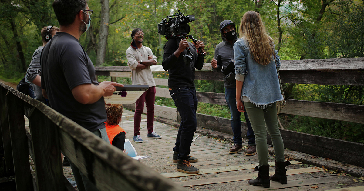 "Behind the Scenes for ""Trace the Line"" with Director Alejandro Miranda Cruz, Cinematographer Greg Hatton, and Actors Brooke Leland and Matthew Charles Bogart."