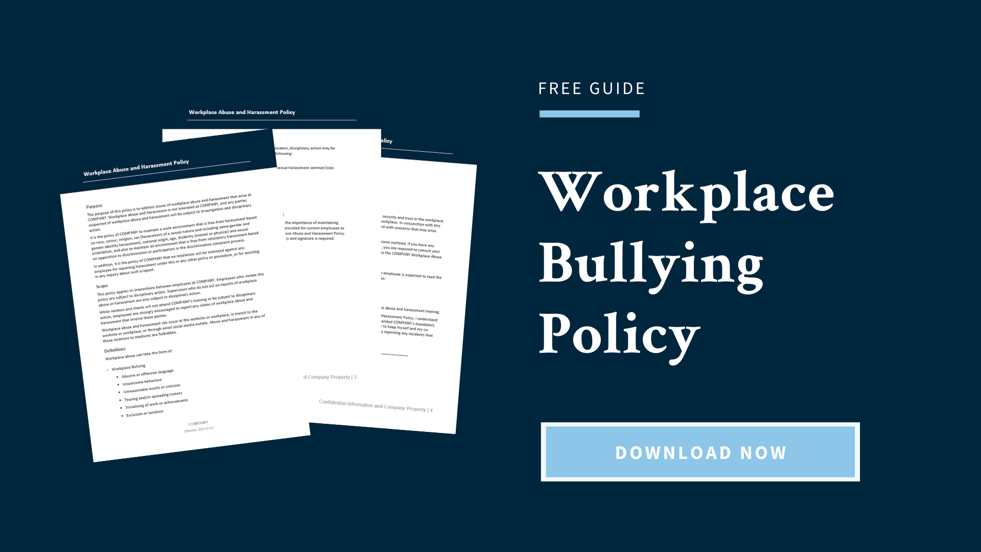 Download for free: Workplace Bullying Policy