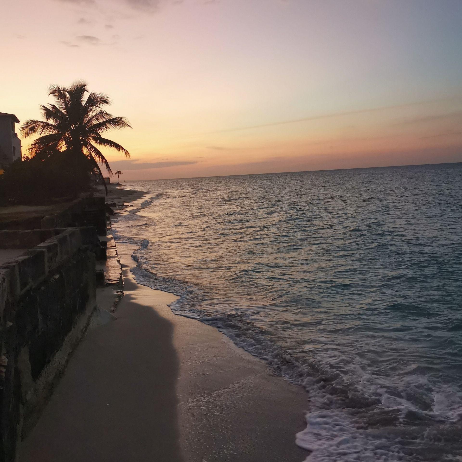 Beach at sunset in Cuba