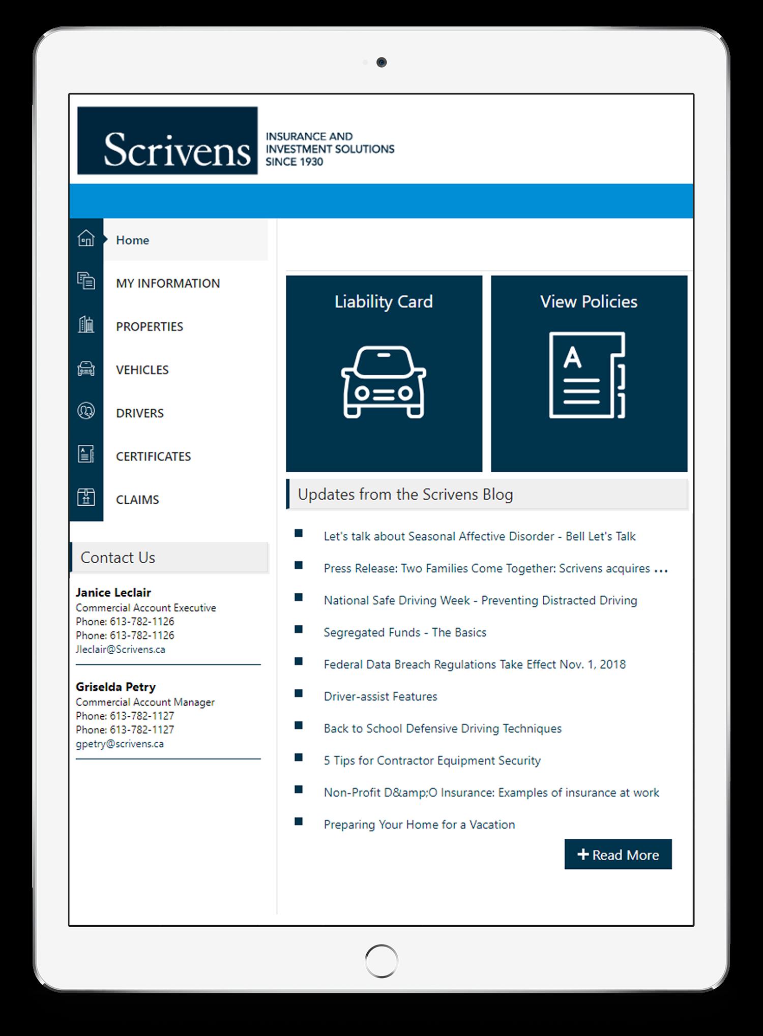 Scrivens Online Tablet Web App