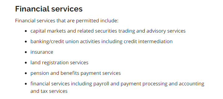 Financial Services permitted to open in Ontario, including insurance services