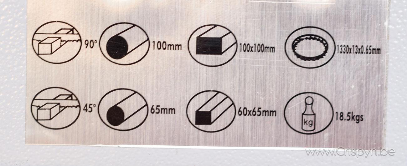zaagcapaciteit: rond 90mm, rechthoek: 100x90, zaagblad 1330mmx13mm