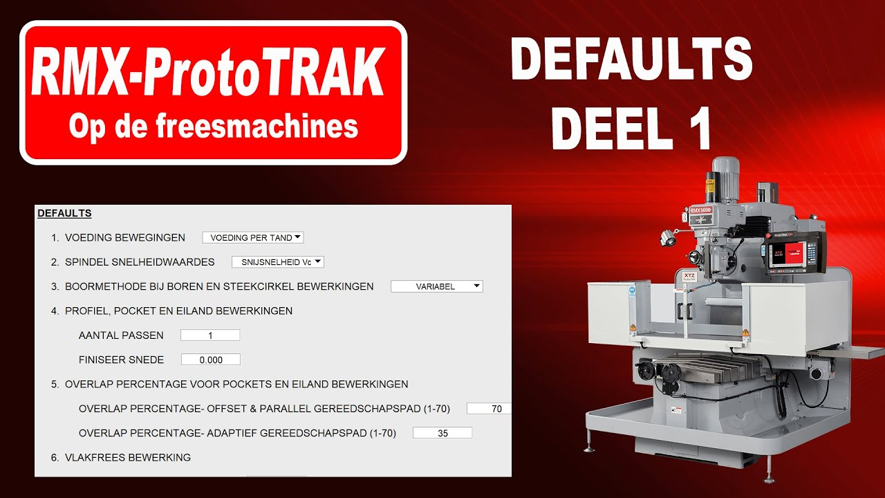 DEFAULTS  op de RMX freesmachine