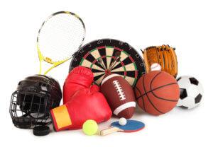 an arrangement of several sports items