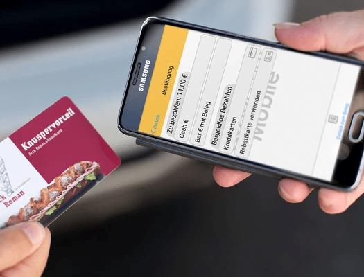 Bargeldlos bezahlen mit Mobile Kundenkartensystem auf Smartphone und Handy