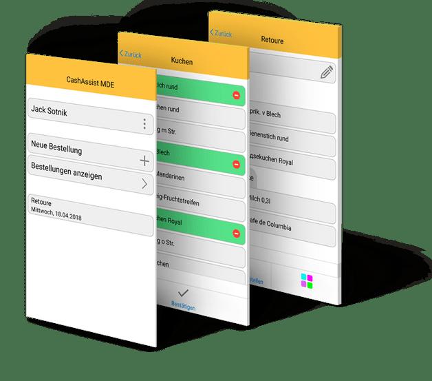 CashAssist MDE app bestellsystem screens