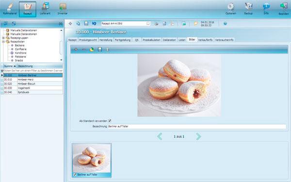 Bäckerei Rezepte Software Rezept eingeben