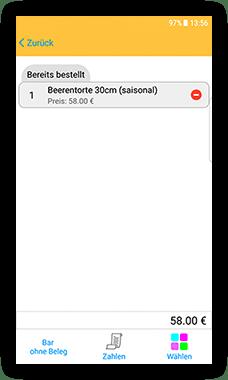 CashAssist Bäckerei mobile Kassen App screen - Bereits bestellt