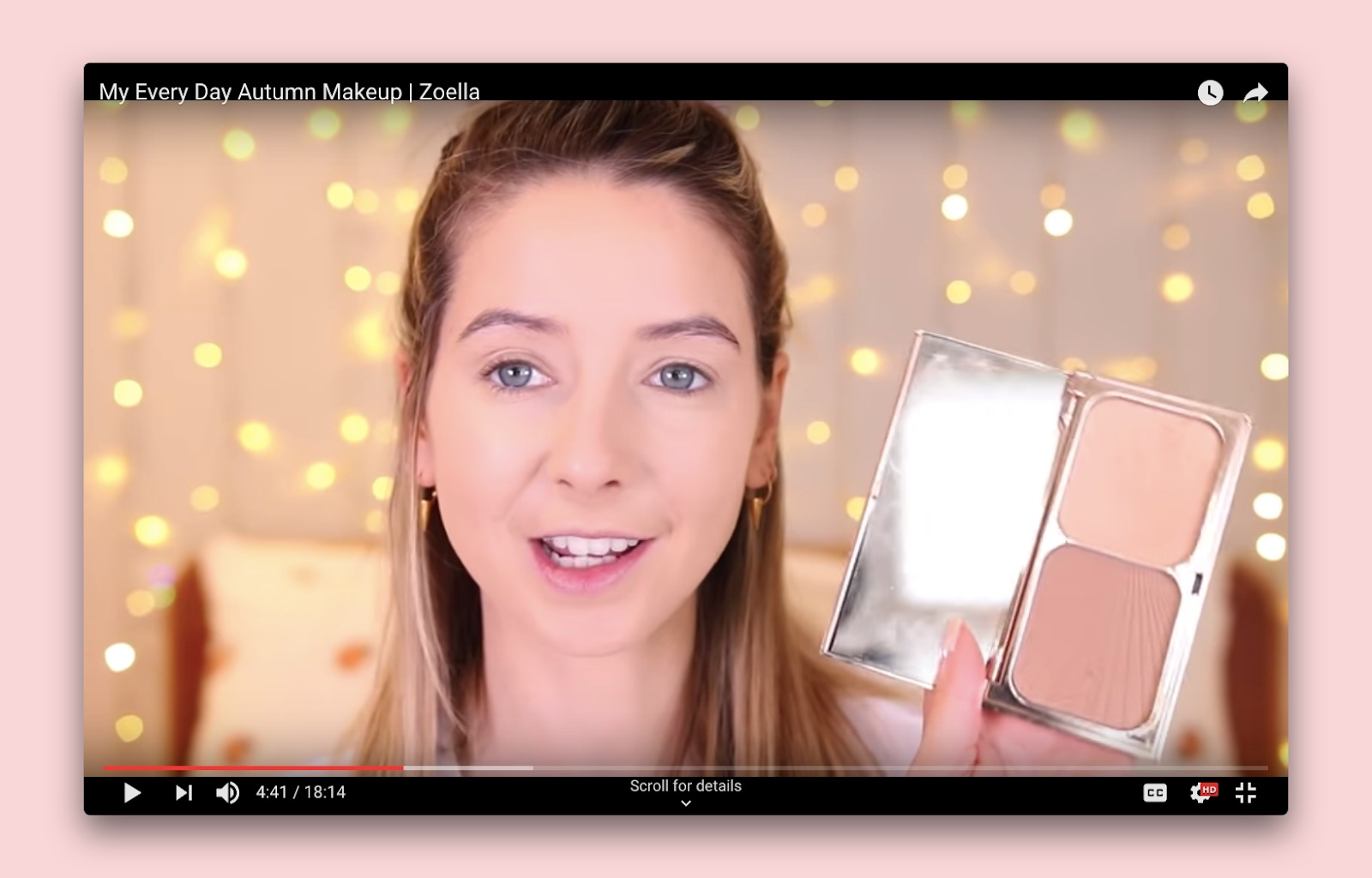 YouTuber Zoella's promotes Kiko Baked Bronzer in Warm Melange in her video My Every Day Autumn Makeup