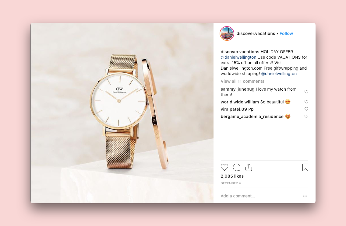 A Daniel Wellington sponsored post on the discover.vactions instagram account