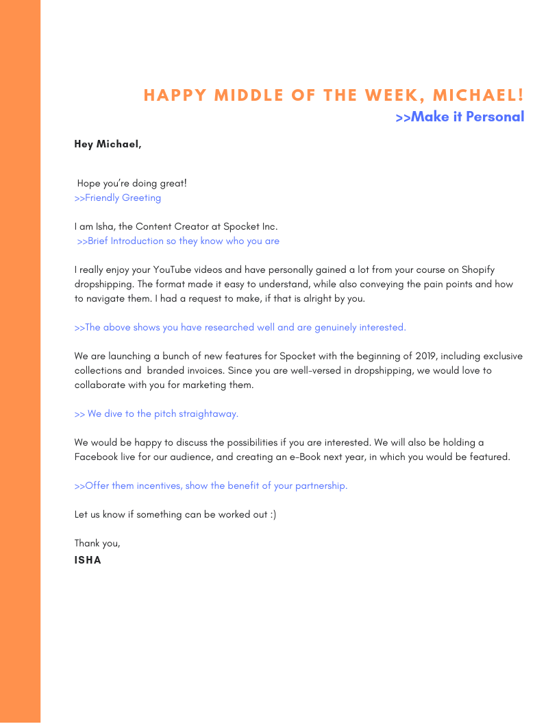 Email Template for contacting Influencers for marketing