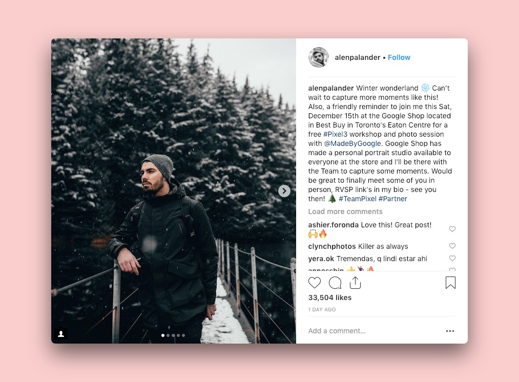 Influencer Alen Palander's instagram post promoting Google Pixel
