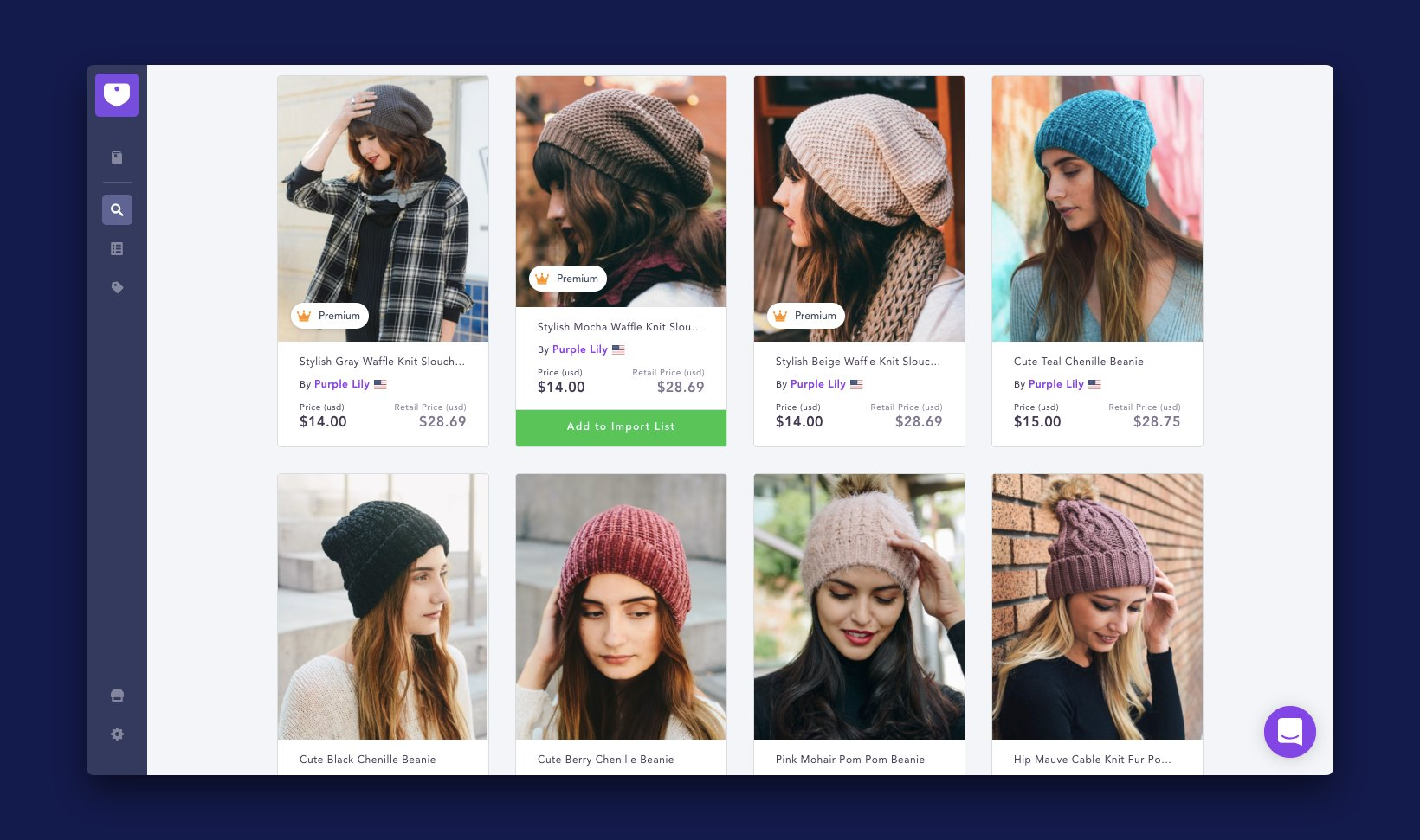 Screenshot of the Spocket app's search page showing results for beanies, a popular holiday product